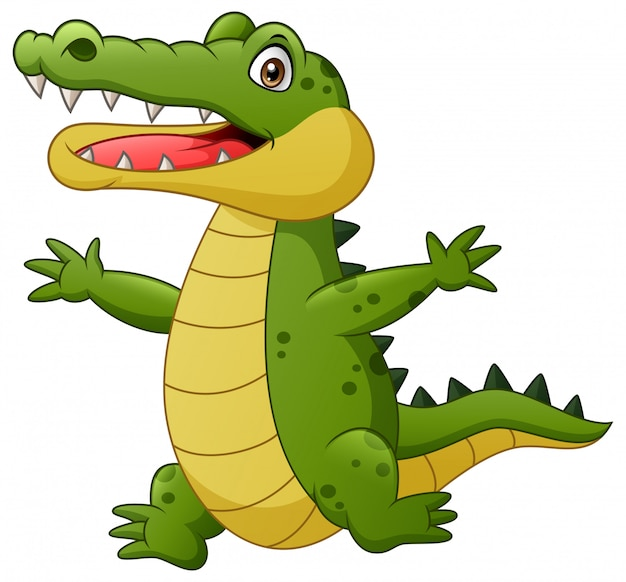 Cartoon crocodile happy. illustration