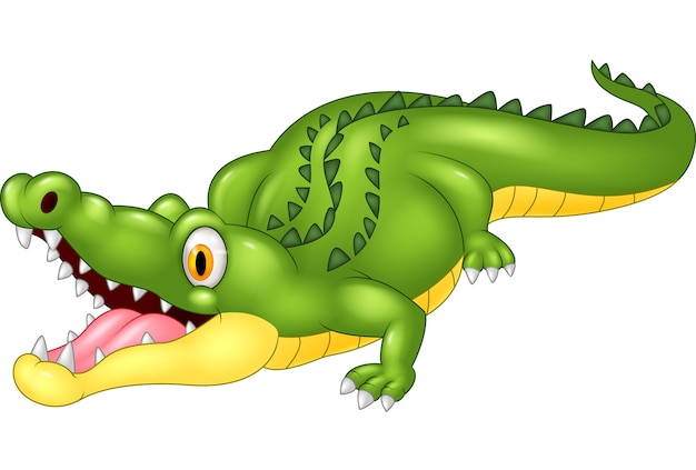 Cartoon crocodile happy