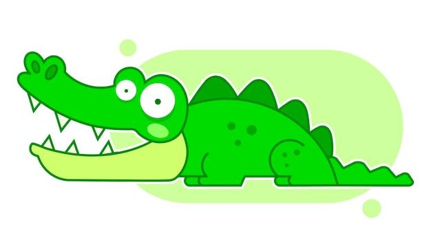 Мультфильм крокодил, изолированные на белом фоне, забавный мультипликационный персонаж