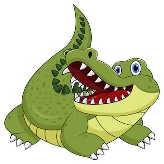 Мультяшный крокодил на белом фоне