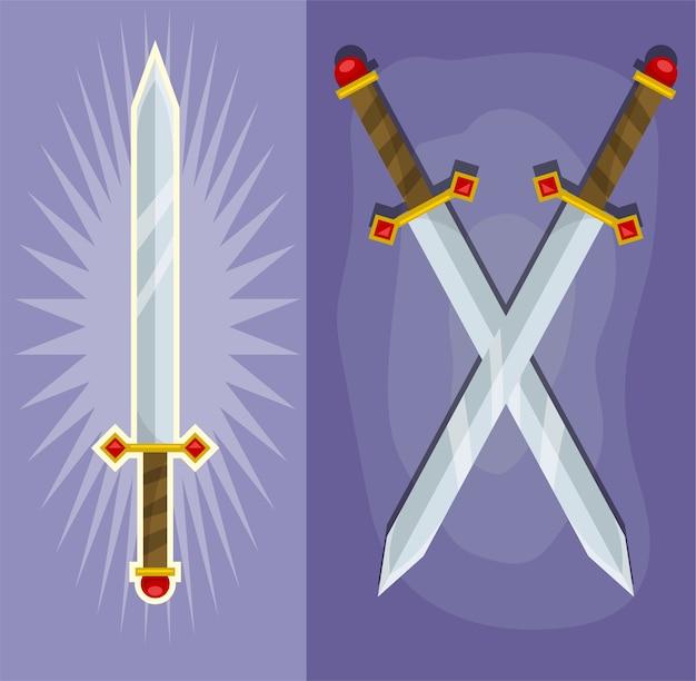 漫画は、ハンドルに宝石とダイヤモンドが付いている魔法の王の鋼の剣を交差させました。紫色の背景に。