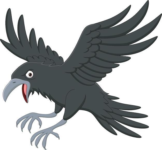 Мультяшная ворона летит на белом фоне