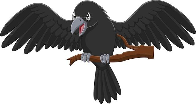 Мультяшная ворона на ветке дерева