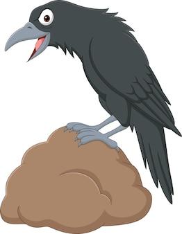 Мультяшная ворона, стоящая в камне на белом фоне