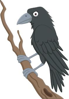 Мультяшная ворона, стоящая на ветке дерева
