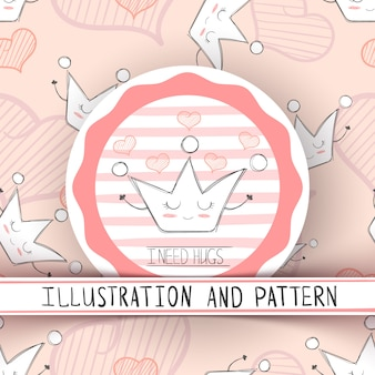 Cartoon crown characters. Cute illustration and pattern. Hand draw