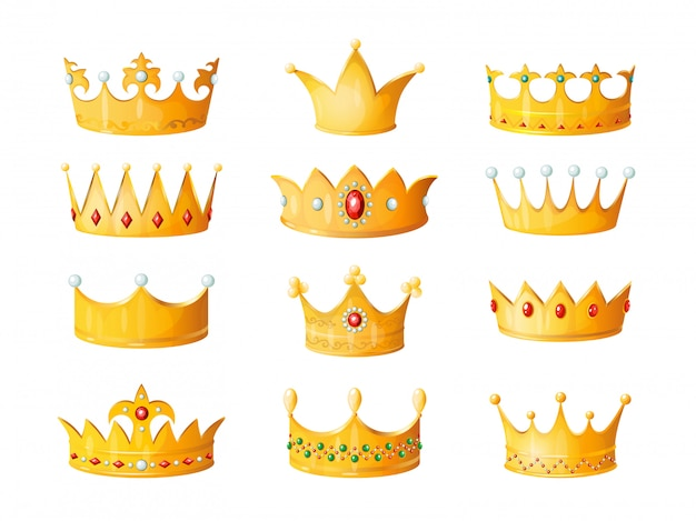 Cartoon crown. golden emperor prince queen royal crowns diamond coronation gold antique tiara crowning imperial corona jewels isolated illustration set