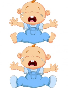 Cartoon crying baby twins isolated on white background
