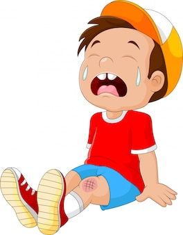 Cartoon crying boy with wounded leg