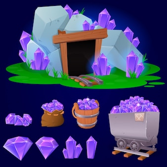 Cartoon crystal collection for game
