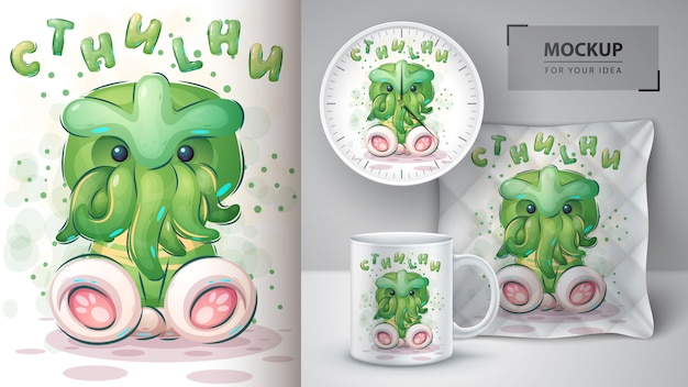 Cartoon cthulhu poster and merchandising.