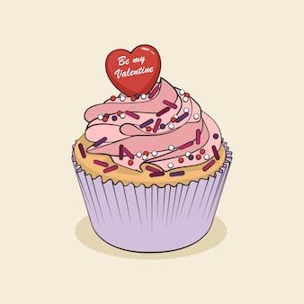 Cartoon cupcake with pink cream and heart