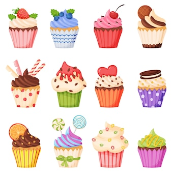 Cartoon cupcake with various topping delicious sweet dessert muffin with chocolate cream fruits