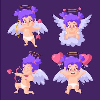 Collezione di personaggi dei cartoni animati cupido