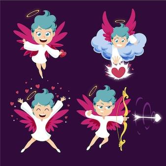 Raccolta di illustrazioni del personaggio di cupido del fumetto
