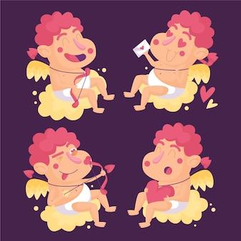 Cartoon cupid character set
