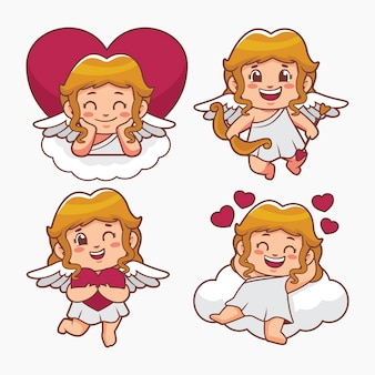 Cartoon cupid character set
