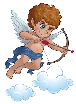 Cartoon cupid with bow and arrow