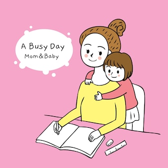 Cartoon cut busy day mom and daughter vector.