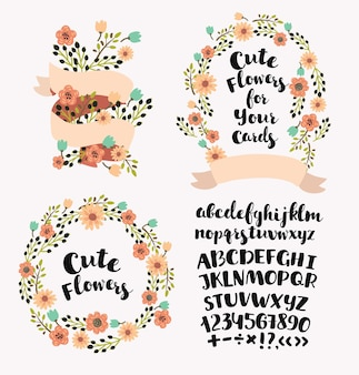 Cartoon cut elements set of wearth and handdrawn alphabet uppercase letters
