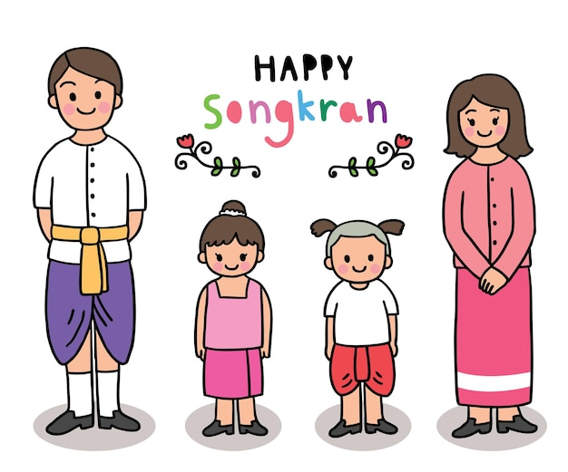 Cartoon cut songkran festival thailand, father and mother and  childen thai style .