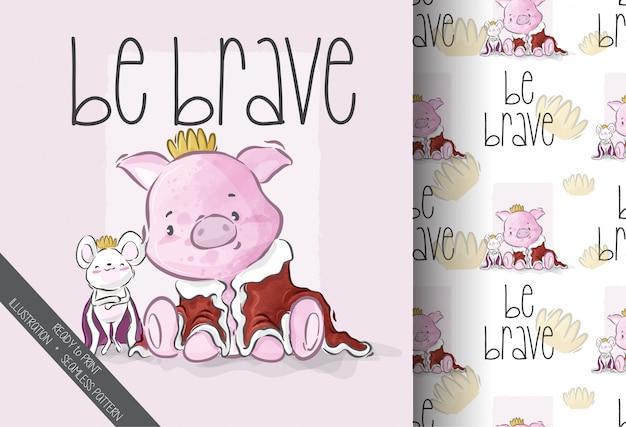漫画かわいい王子動物のシームレスパターン