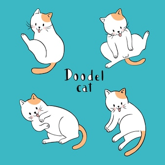 Cartoon cute action white and orange cat vector.