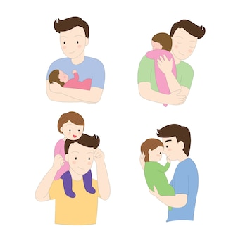 Cartoon cute actions daddy and baby vector