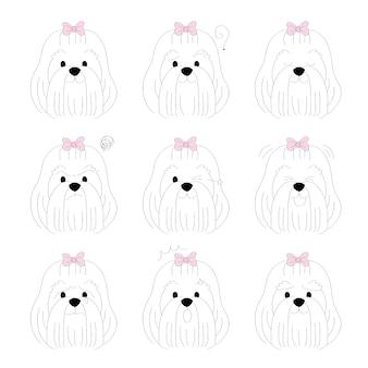 Cartoon cute actions long maltese dog vector