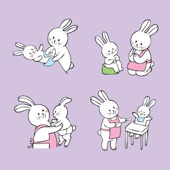 漫画かわいいアクションママと赤ちゃん白ウサギベクトル。