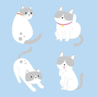 Cartoon cute actions white and gray cat.