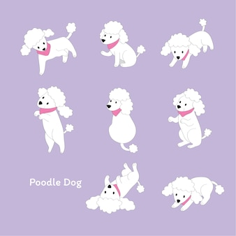 Cartoon cute actions white poodle