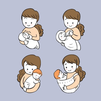 Cartoon cute actions woman feeding her baby vector set.