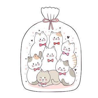 Cartoon cute adorable cats in plastic bag