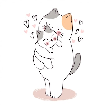 Cartoon cute adorable mother and baby cat kissing .