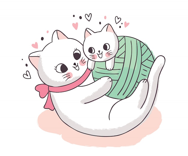 Cartoon cute adorable mother and baby cat playing
