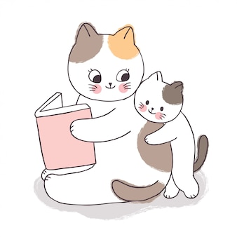 Cartoon cute adorable mother and baby cat reading book