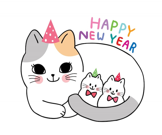 Cartoon cute adorable mother cat and kittens celebration new year vector.