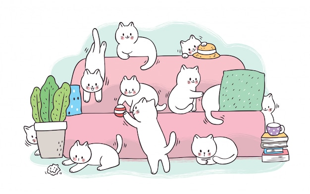 Cartoon cute adorable white cats playing on pink sofa