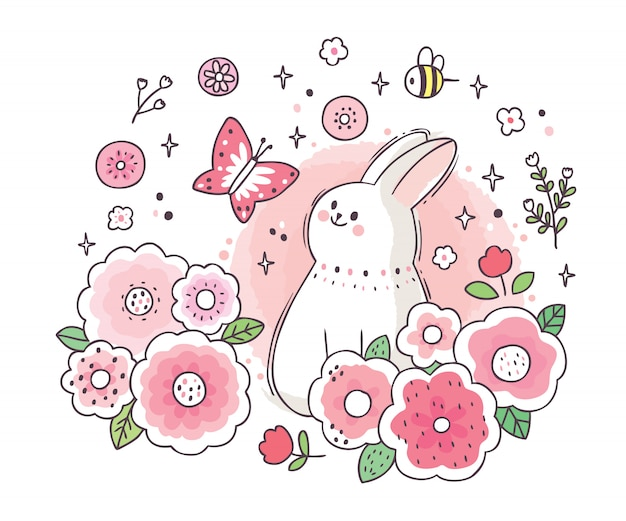 Cartoon cute adorable white rabbit and  butterfly and garden flower