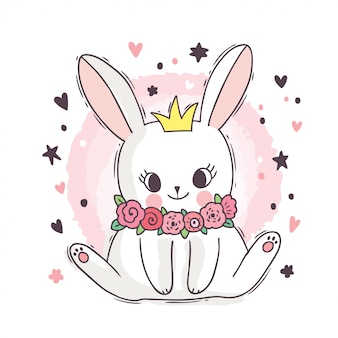 Cartoon cute adorable white rabbit and  flower and crown