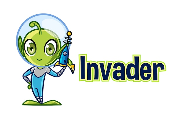 Cartoon cute alien character mascot logo