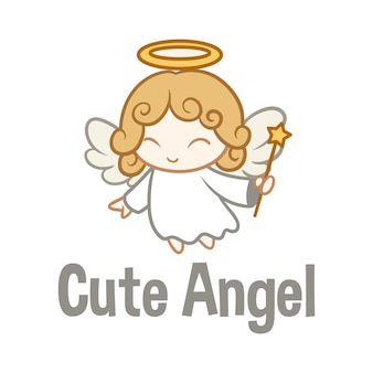 Cartoon cute angel character mascot logo