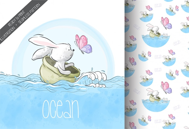 Cartoon cute animal bunny with butterfly on sea seamless pattern