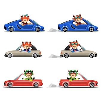 Мультяшный милый животное водить машину на дороге