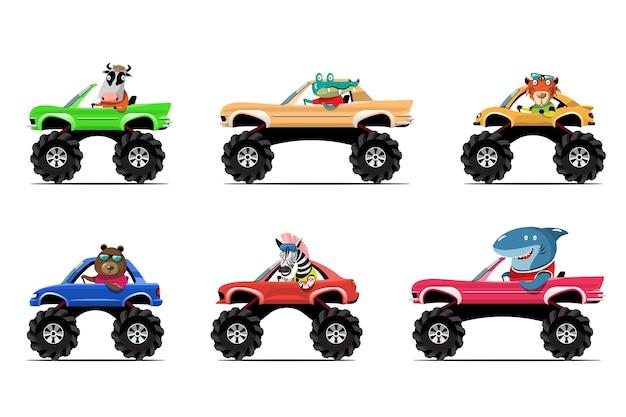 Cartoon cute animal drive car on the road animal driver
