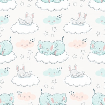 Cartoon cute animal seamless pattern. elephant and rabbit