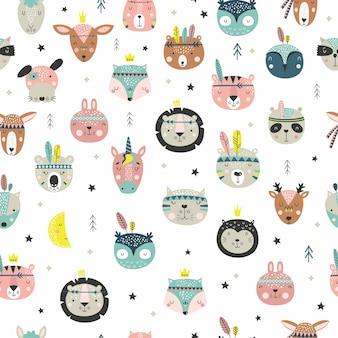 만화 귀여운 동물 부족 얼굴. boho 귀여운 동물 패턴.