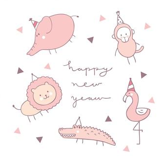 Cartoon cute animal wildlife happy new year vector.