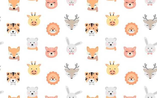 Cartoon cute animals for baby seamless pattern.